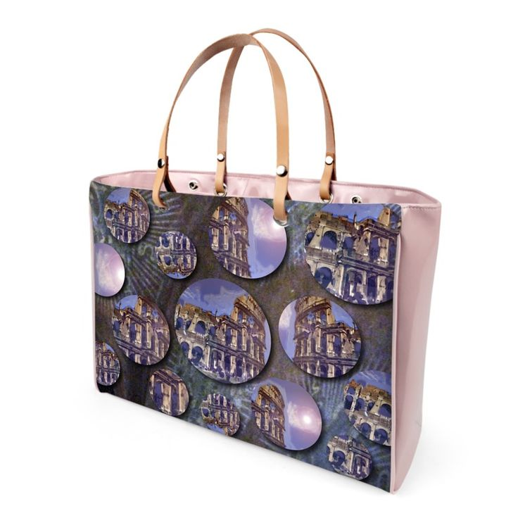 """""""Colosseo"""" handbag  -  Available in leather or vinyl finishes Leather handles and steel protection feet Two inner pockets, one with zip 2 sizes available: small and large 10 years warranty -"""