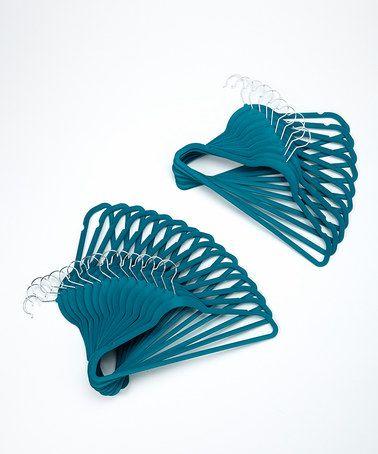 Teal Nonslip Velvet Hanger - Set of 25 #zulily #zulilyfinds