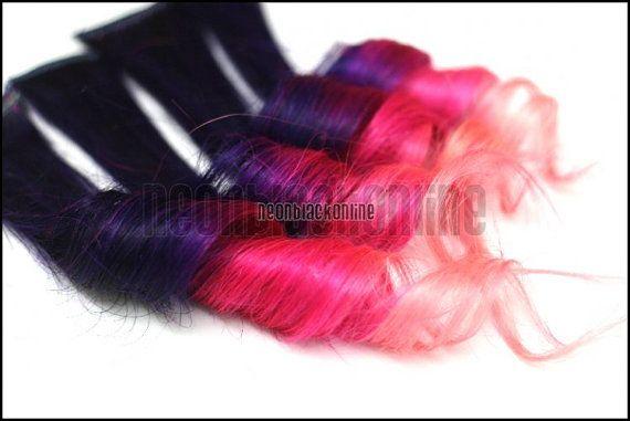 Clip clip extensions dans les cheveux humains de stries - 4 x violet, rose, rose bébé - - 14 pouces