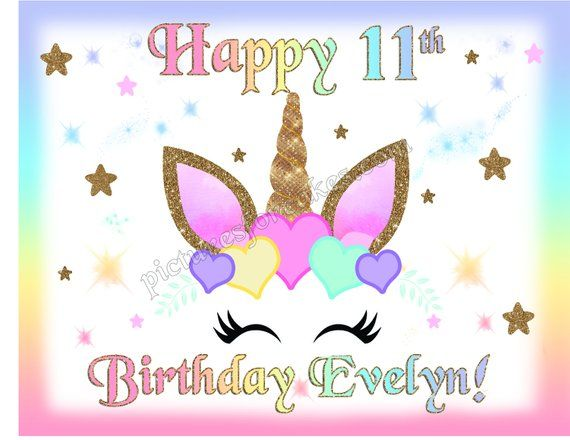 Unicorn custom birthday edible cookie toppers cupcake tops party wafer paper
