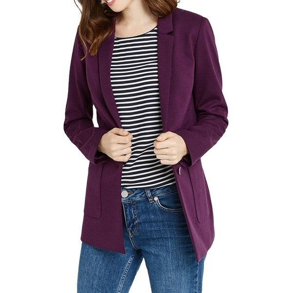 Oasis Boyfriend Blazer ($59) ❤ liked on Polyvore featuring outerwear, jackets, blazers, boyfriend blazer jacket, purple blazer jacket, oasis jackets, boyfriend jacket and fitted jacket