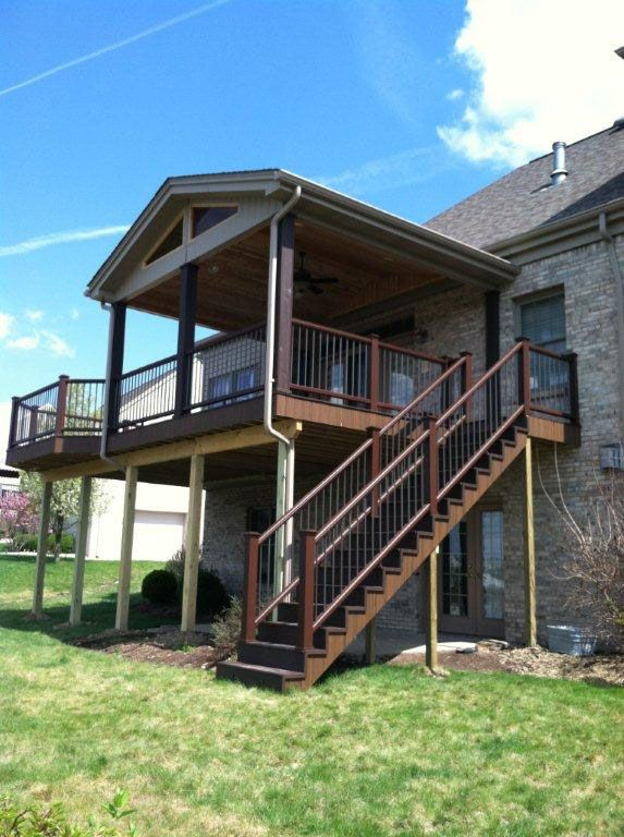 Best 25 second story deck ideas on pinterest walkout basement patio under deck ceiling and - Two story house plans with covered patios ...