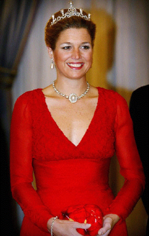 Princess Maxima of the Netherlands The diadem from the Emerald Parure with pearls