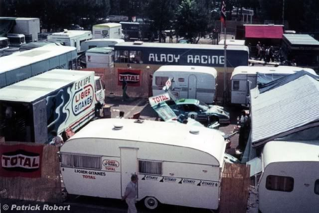 Ligier team in the paddock at Le Mans in 1975