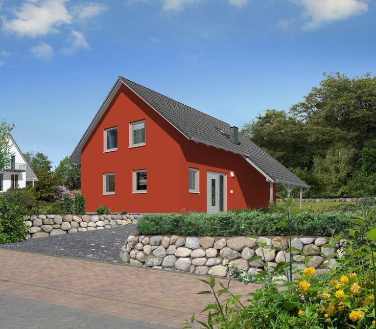 Einfamilienhaus Klassisch Mit Satteldach Architektur Carport Putz Fassade Rot Architektur Carport Einfamilien Putz Fassade Town Country Haus Fassade