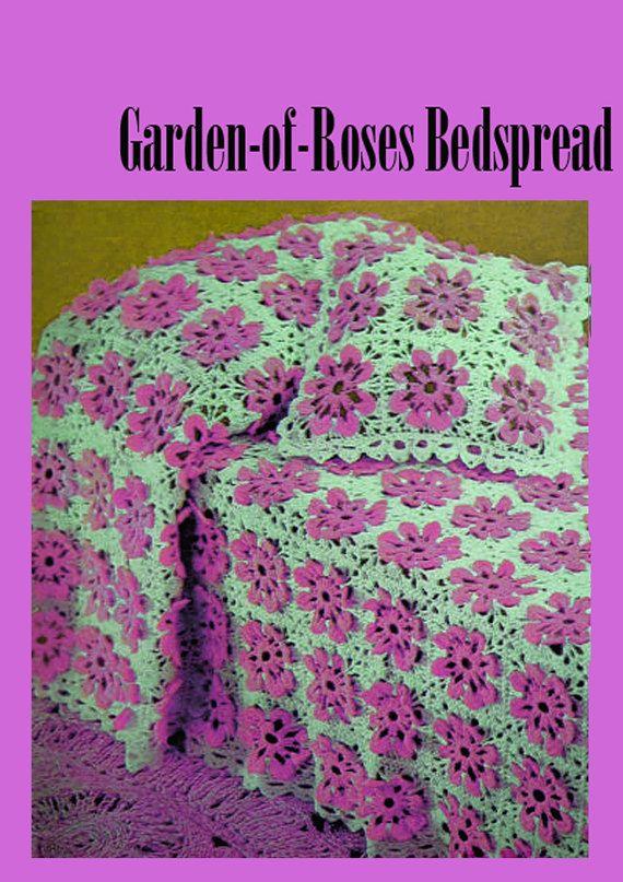 PDF Vintage 1960s Kitsch ROSE GARDEN Bedspread Crochet Pattern