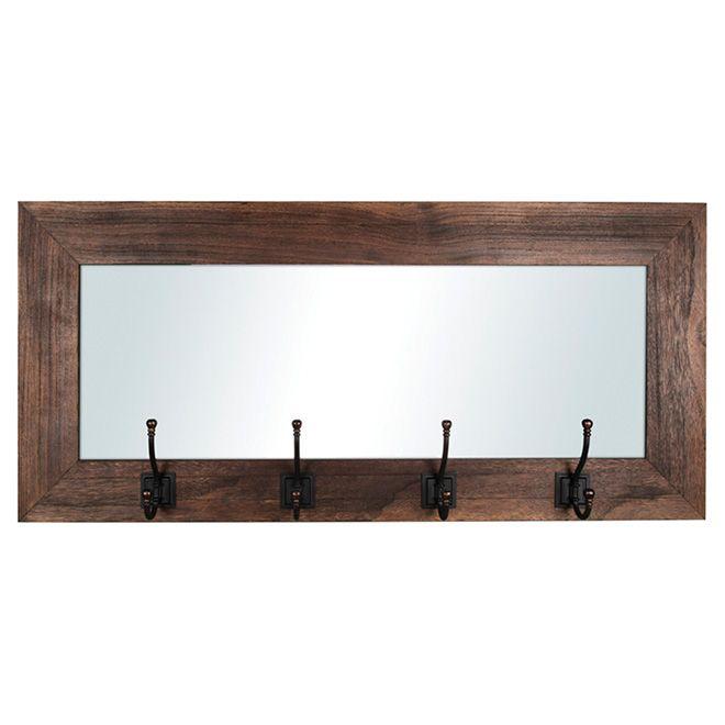 Miroir d'entrée avec 4 crochets, bois recyclé