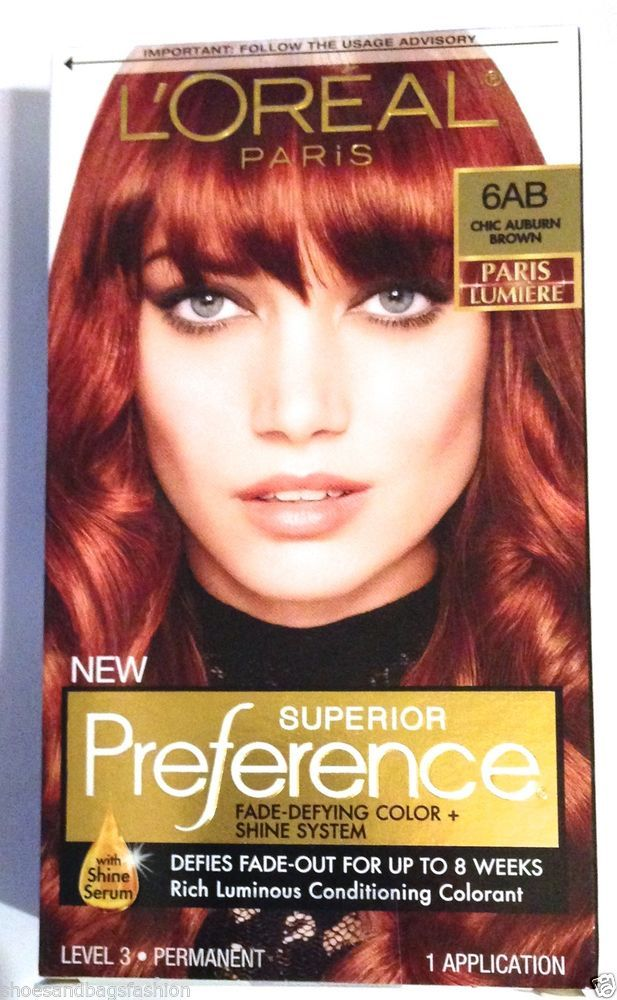 loreal superior preference hair color paris lumiere 6ab chic auburn brown lorealsuperiorpreference6abchicauburnbrow - Lumire Colore