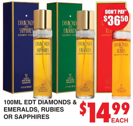Perfume Diamonds, Emeralds, Rubies or Sapphires http://dimmeys.com.au