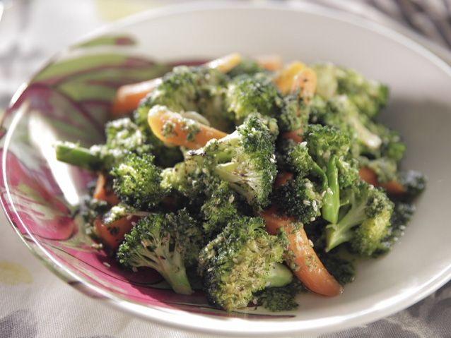 Roasted Broccoli and Carrots with Carrot Top Pesto recipe from Trisha Yearwood via Food Network (Season 6 -- Mother's Day)