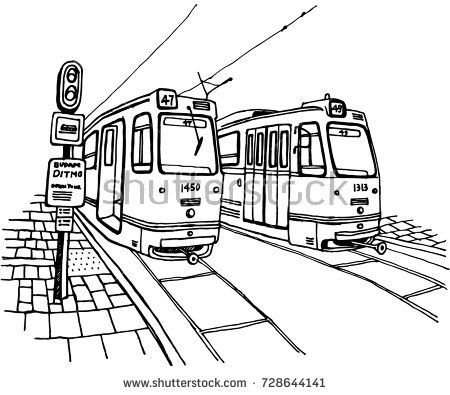 Hand drawn Tram illustration