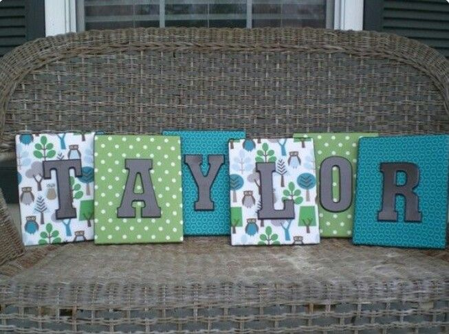 Fabric covered canvas & painted wood letters