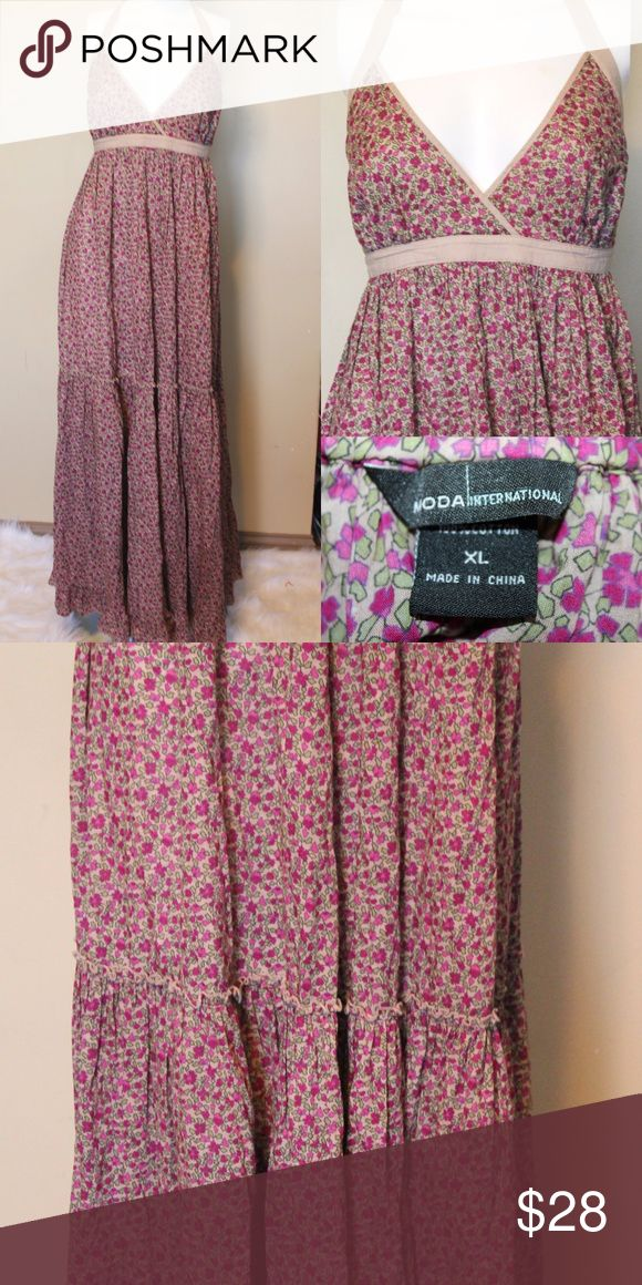 MODA INTERNATIONAL Floral Prairie Maxi Dress Floral Hippie Prairie Look Maxi dress halter style with tie neck elastic back pullover style, very roomy could size up with the elastic tiny floral print pattern Moda International Dresses Maxi