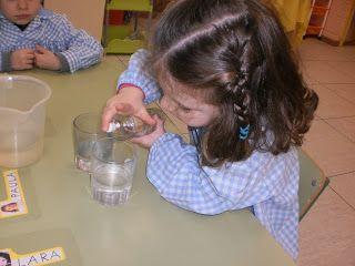 AGUA . El Agua no tiene olor. Motivación: Llenamos dos vasos de agua y decimos a los niños que van a poner un chorro de agua de colonia en uno. Hipótesis: Preguntamos a qué olerá el agua en cada caso. Experiencia: Ponemos la colonia en el 1º vaso y removemos. Finalmente, olemos los 2 vasos. Conclusión: el agua del vaso que tiene colonia huele bien. Huele a flores como el gel de baño. El agua del vaso que no tiene nada  ¡no huele a nada! El agua no tiene olor.
