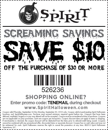 pinned september 28th 10 off 30 at spirit halloween or online via promo - Spirit Halloween 50 Off Coupon