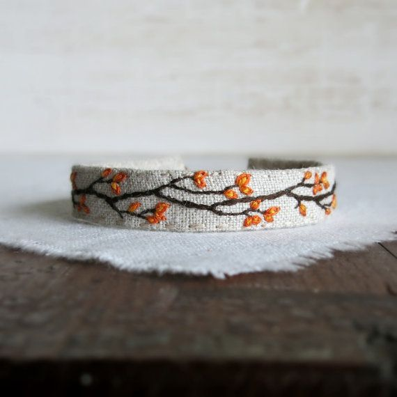 Fall Foliage Cuff Bracelet - Hand Embroidered Branch with Orange Leaves on…