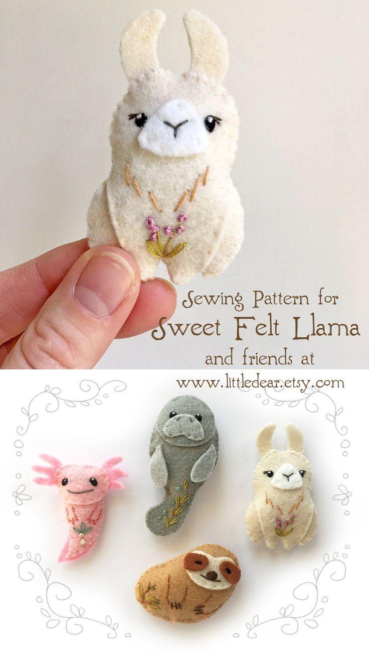 Felt Animals PDF Pattern for Unusual Creatures, Digital Download, Llama, Axolotl, Sloth, Manatee, SV