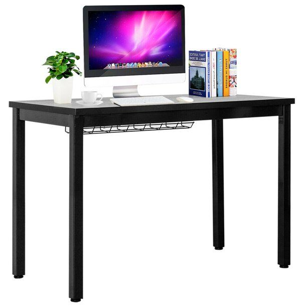 Gymax 42 Computer Desk Pc Laptop Table W Cable Organizer Sturdy Writing Desk Walmart Com In 2020 Modern Writing Tables Computer Desk Black Computer Desk