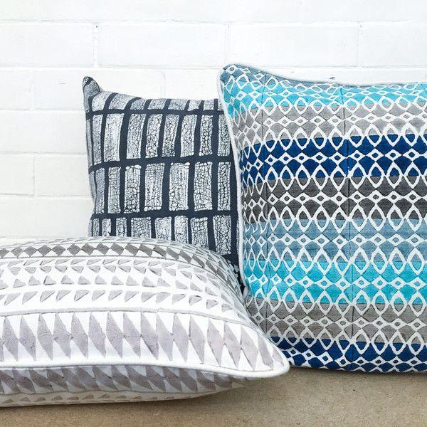 Block print cushion - Moroccan Marine | The Woven Trail