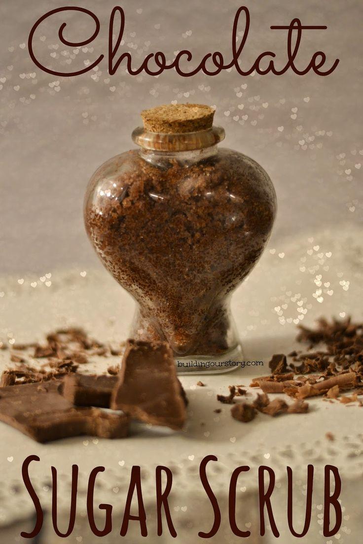 Chocolate Sugar Scrub Recipe #DIY - Valentines Day Gift.  Valentines Day gifts for girlfriends.  DIY Valentines Day gifts.  Sugar scrub recipes.  Easy Sugar scrub.  Chocolate sugar scrub.