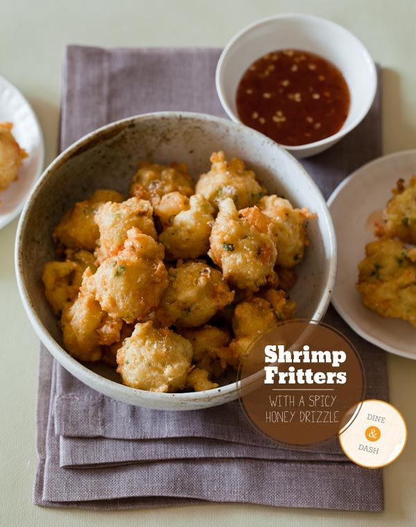 shrimp-fritters-1Honey Drizzle, Yummy Food, Shrimp Recipe, Seafood, Parties Appetizers, Conch Fritters, Spicy Honey, Appetizers Recipe, Shrimp Fritters