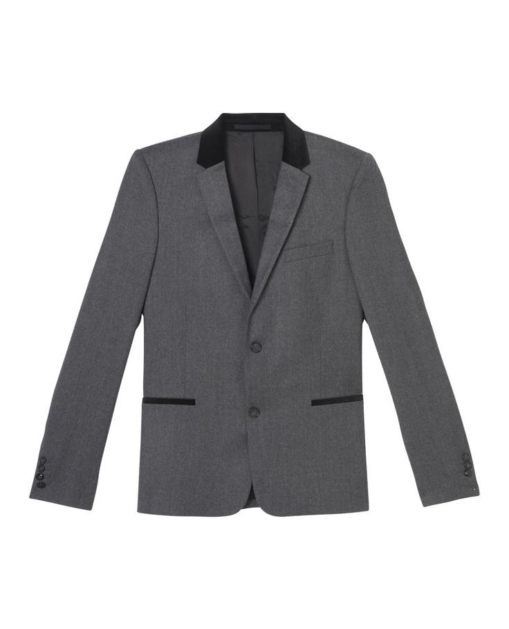 Grey jacket with black velvet inset collar - Suit jacket - Men - The Kooples