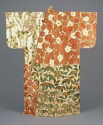 1500s Japan. One of the oldest surviving complete Kimonos. Kosode with Gold Leaf; alternating blocks of floral motifs. Kyoto National Museum: