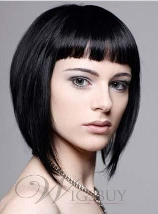 Youthful Short Straight Capless Human Hair Wig 10 Inches - #capless #human #inches #short #straight
