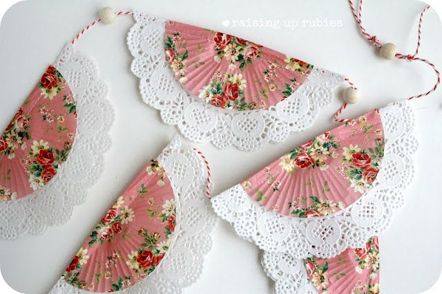 DIY doily bunting using paper doilies and pretty cupcake liners would make a great decoration for a tea party bridal shower. #TeaPartyBridalShower #BridalShower