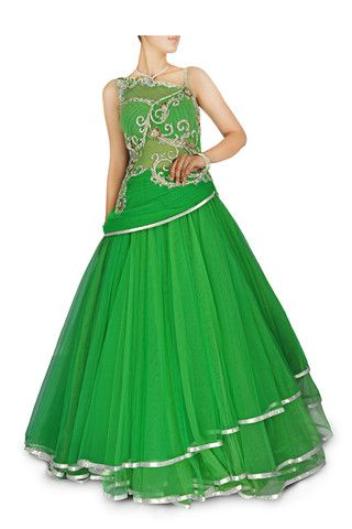 Green colour Indo Western Gown – Panache Haute Couture