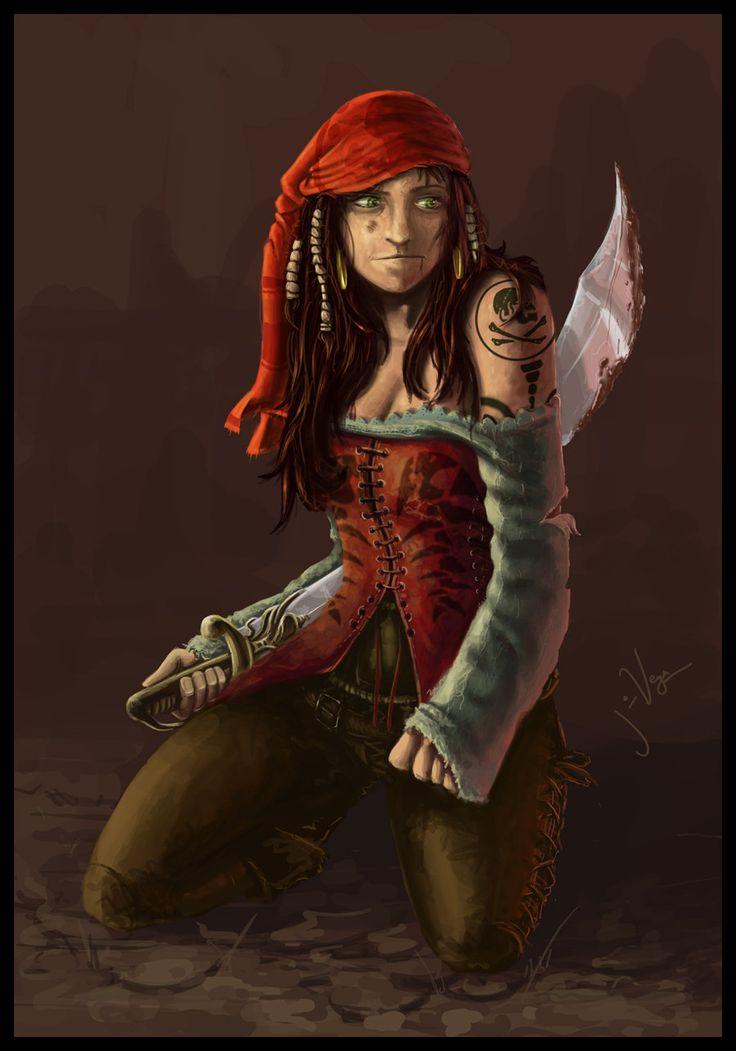 Fantasy pirate woman will order