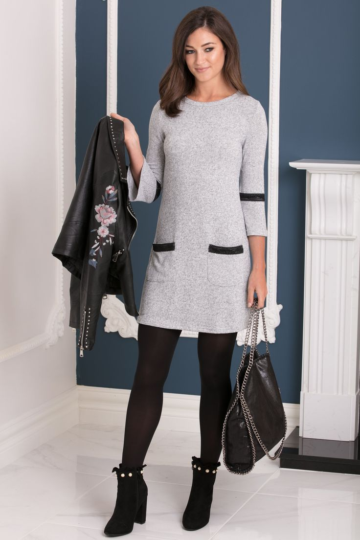 Trumpet Sleeve Light Knit Grey Jumper Dress