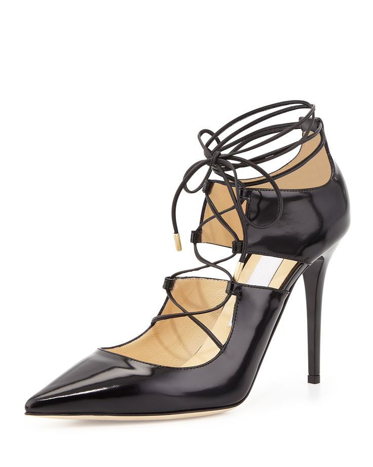 Hoops Lace-Up Leather Pump, Black, Size: 36B/6B - Jimmy Choo