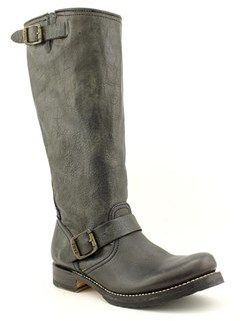 Frye Veronica Slouch Women Round Toe Leather Black Mid Calf Boot.
