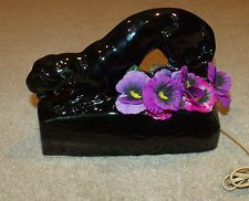 Vintage 1950s Panther TV Lamp/Planter/Light-Black Ceramic-Crouching-Retro Decor
