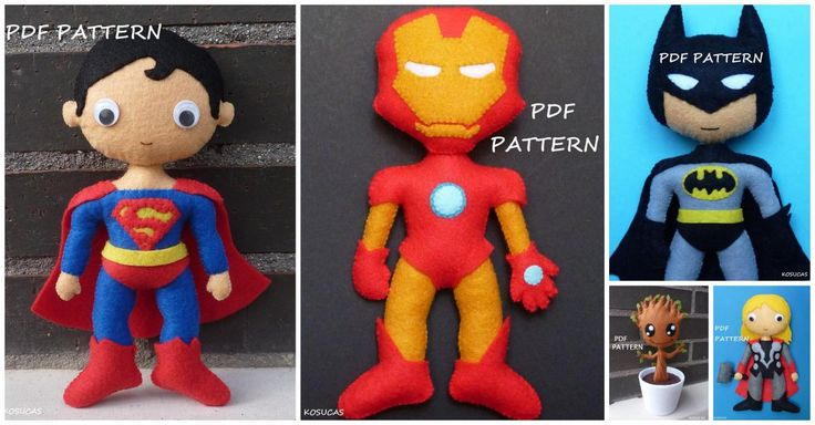 Best Superhero felt doll sewing patterns for boys, including Superman, Iron Man, Batman, Thor and Groot.