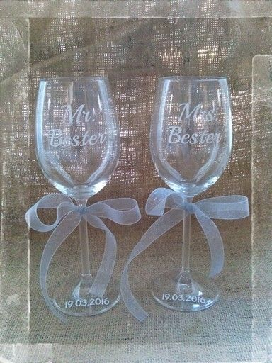 Bride and groom wine glasses