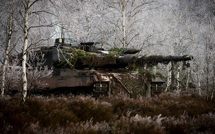 Download wallpapers Leopard 2a6m, 4k, German battle tank, modern armored vehicles, forest, winter camouflage, Leopard 2, tanks