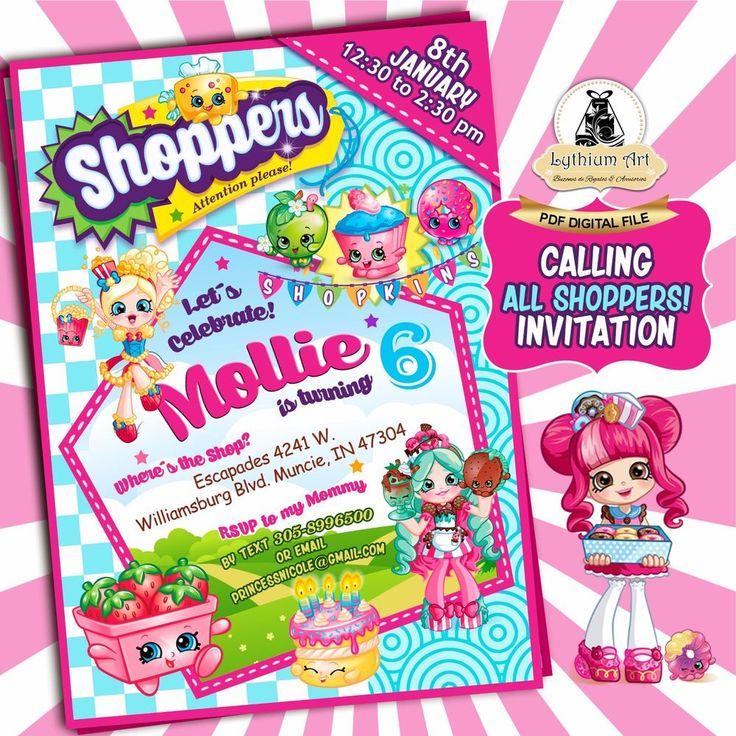 DIGITAL FILE - Shopkins Themed Party Invitation U PRINT #Unbranded #BirthdayChild