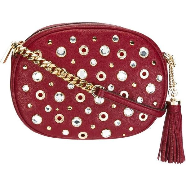 "Michael Michael Kors Studded ""Ginny"" Pochette (€225) ❤ liked on Polyvore featuring bags, handbags, clutches, red, red crossbody purse, red crossbody, red crossbody handbags, red handbags and studded crossbody purse"