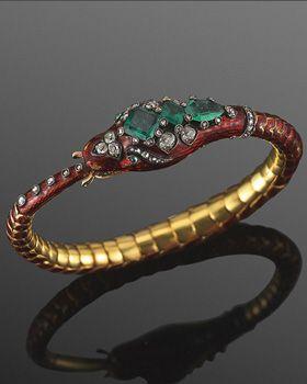 Victorian Red Enamel Colombian Emerald and Diamond Snake Bracelet