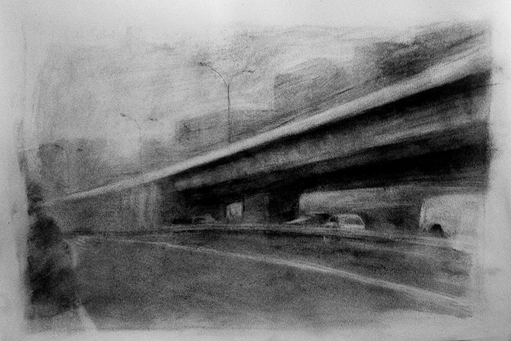 THE BRIDGE. 28,5x42 cm. Charcoal. E. Pitarch © 2015. All rights reserved.
