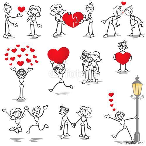 "Stickman in love, hearts, holding hands, kissing"" Imágenes de ..."