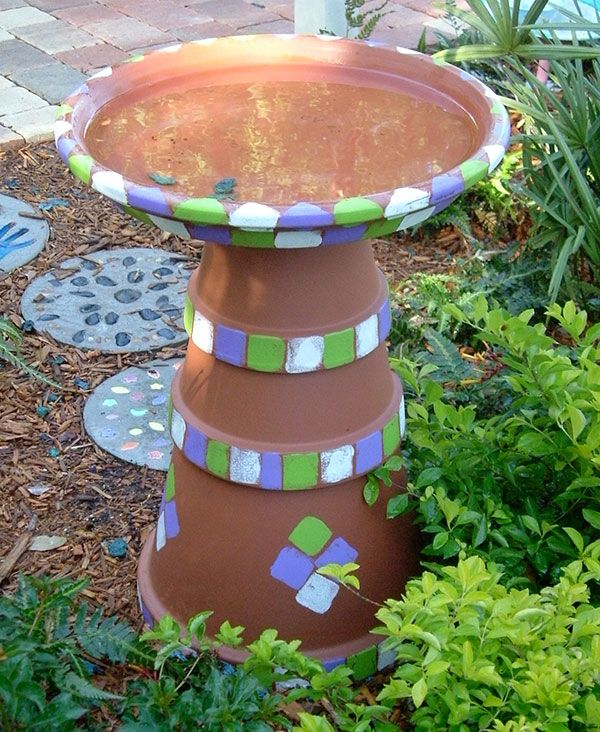 painted flower pot bird bath - I think the kids & I will make one this summer