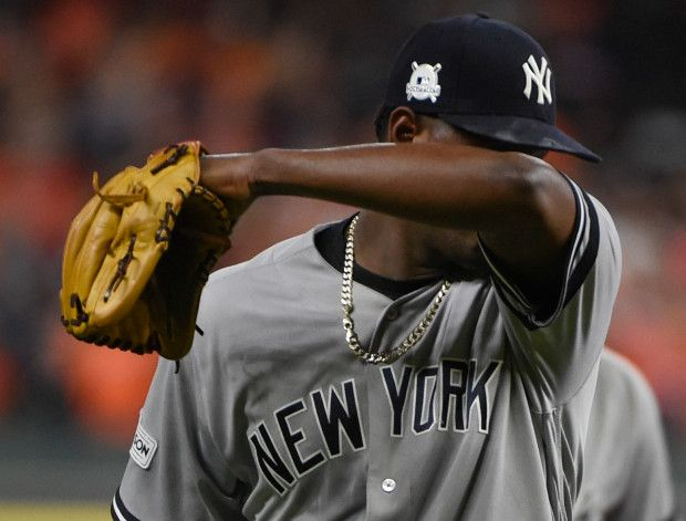 October 20, 2017:  Justin Verlander shuts down Yankees; Astros force ALCS Game 7.  New York Yankees starting pitcher Luis Severino leaves the game during the fifth inning of Game 6 of baseball's American League Championship Series against the Houston Astros Friday, Oct. 20, 2017, in Houston. (AP Photo/Eric Christian Smith)