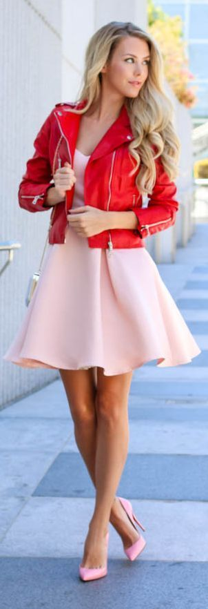 Street style | Pastel pink skater dress with red leather jacket