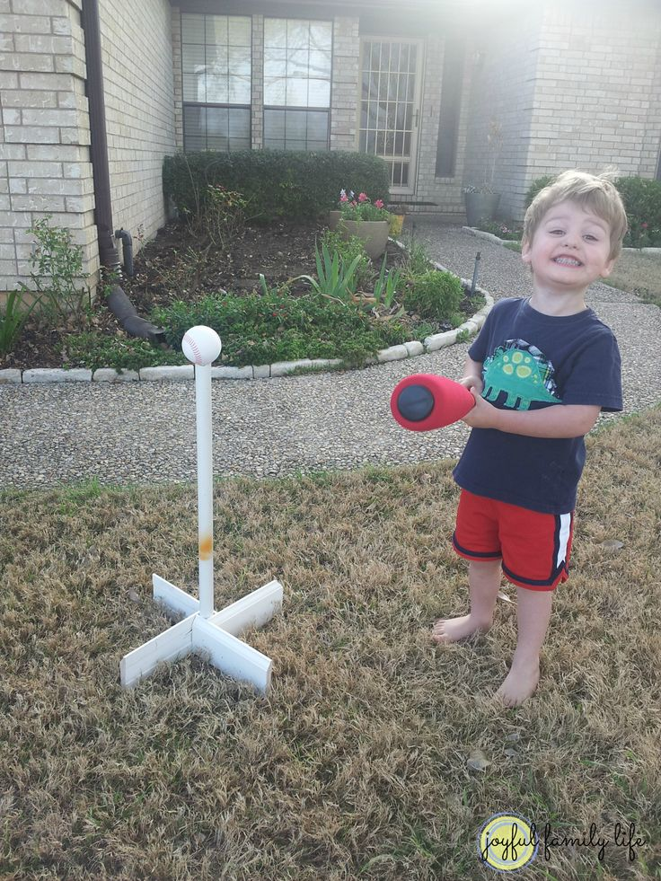 homemade t ball stand a 10 minute project from diy ideas. Black Bedroom Furniture Sets. Home Design Ideas