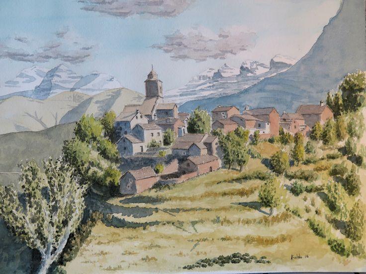 Bestué en su soberbio emplazamiento. Pirineo de Sobrarbe. Acuarela en papel Arches 26 x 36.  300gr