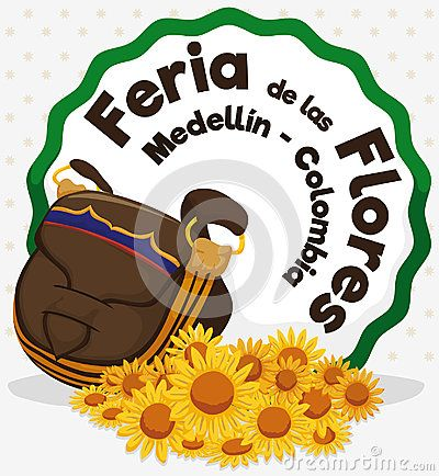 Poster with yellow daisies and carriel or satchel, ready to be used in Festival of the Flowers celebration written in Spanish.