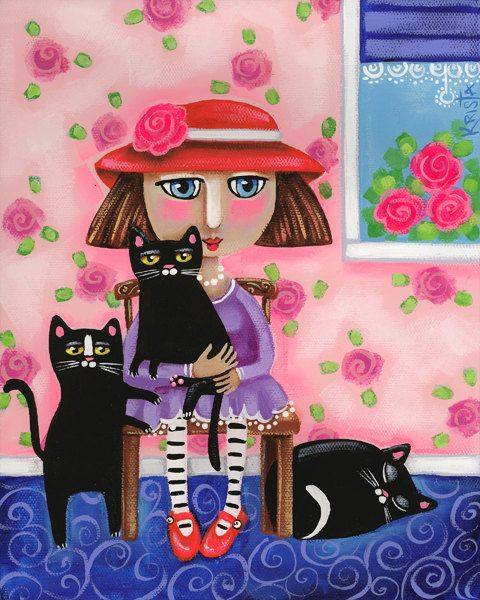 A GIRL and Her CATS Folk Art CAT Print cat lady by kristaartstudio